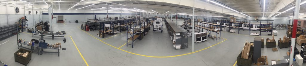 Panoramic showing interior of Klinge Corp facility